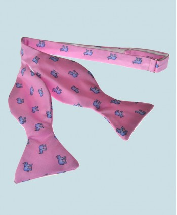 Fine Silk Lucky Elephant Pattern Self Tie Bow Tie in Pink and Light Blue
