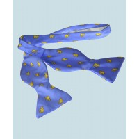 Fine Silk Lucky Elephant Pattern Self Tie Bow Tie in Light Blue and Yellow