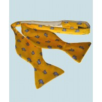 Fine Silk Lucky Elephant Pattern Self Tie Bow Tie in Yellow and Light Blue