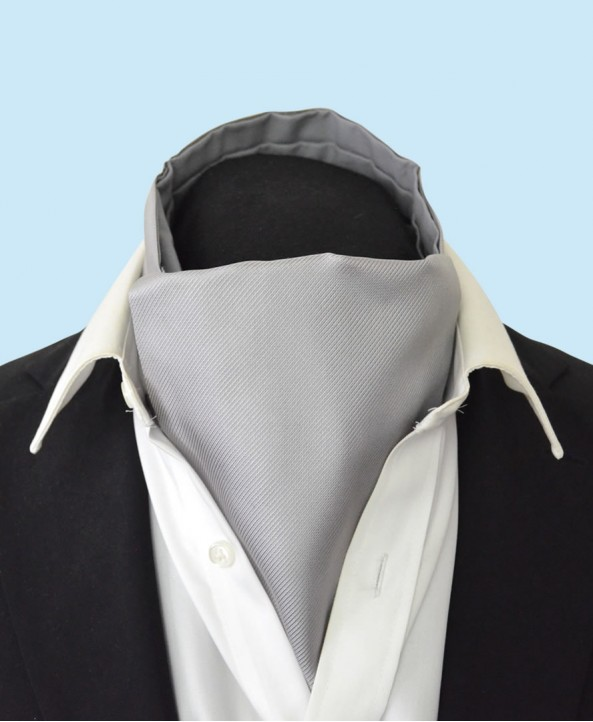 Silk Cravat in Classic Light Grey Colour