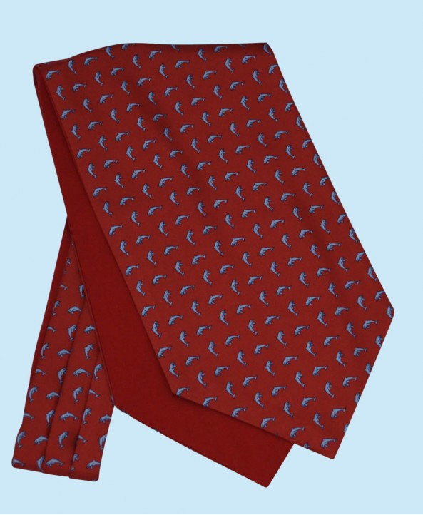 Silk Cravat in Classic Red with Sky Blue Dolphins