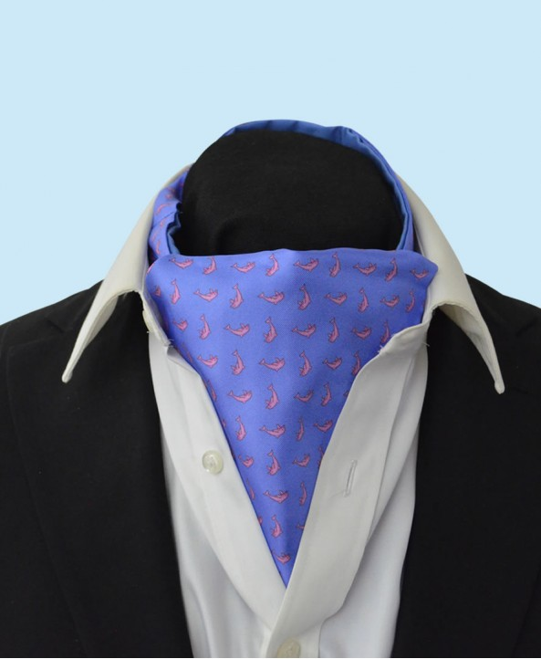 Silk Cravat in Sky Blue with Pink dolphins