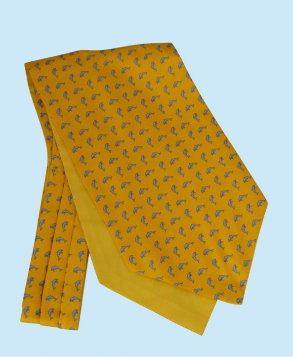 Silk Cravat in Yellow with Sky Blue Dolphins
