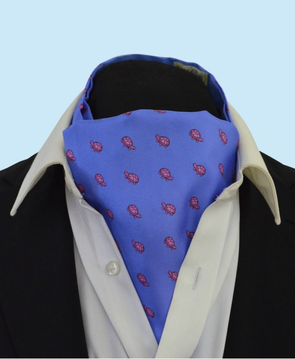 Silk Cravat in Sky Blue with Pink Turtles