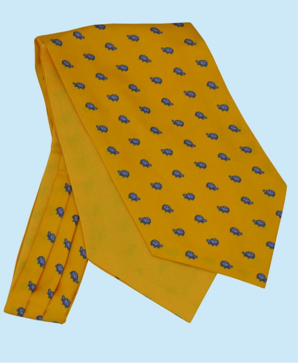 Silk Cravat in Yellow with Sky Blue Turtles