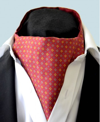 Fine Silk Pyramid of the Sun Neat Pattern Cravat in Red