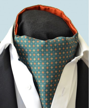 Fine Silk Pyramid of the Sun Neat Pattern Cravat in Green