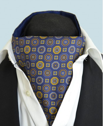 Fine Silk Mosaic Medallion Pattern Cravat in Navy