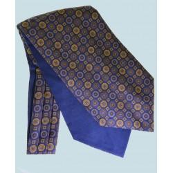 Fine Silk Mosaic Medallion Pattern Cravat in Navy