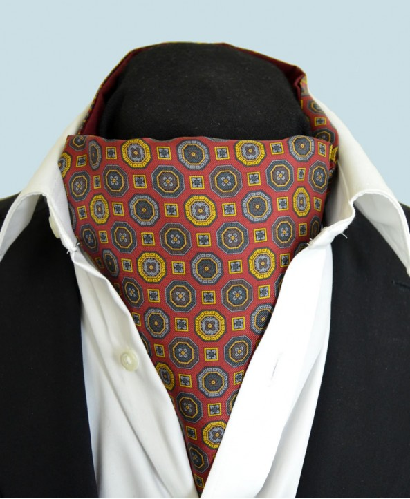 Fine Silk Mosaic Medallion Pattern Cravat in Red