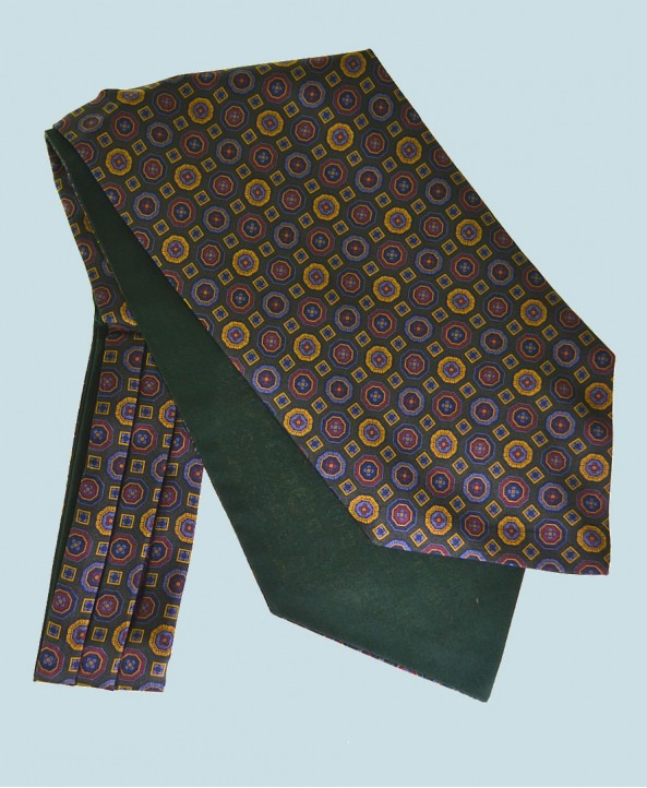 Fine Silk Mosaic Medallion Pattern Cravat in Green