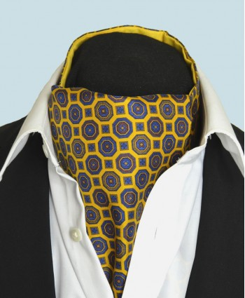 Fine Silk Mosaic Medallion Pattern Cravat in Gold