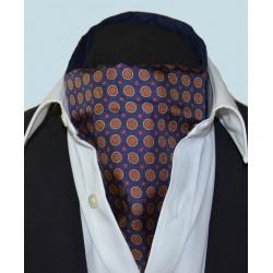 Fine Silk Bullseye Medal Pattern Cravat in Navy