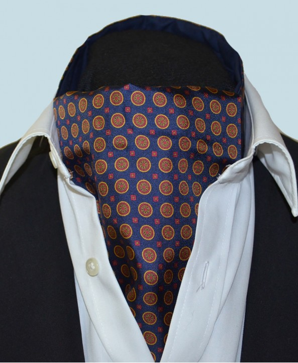Fine Silk Bullseye Medal Pattern Cravat in Navy