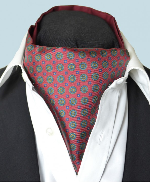 Fine Silk Bullseye Medal Pattern Cravat in Red