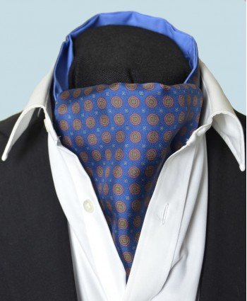Fine Silk Bullseye Medal Pattern Cravat in Blue