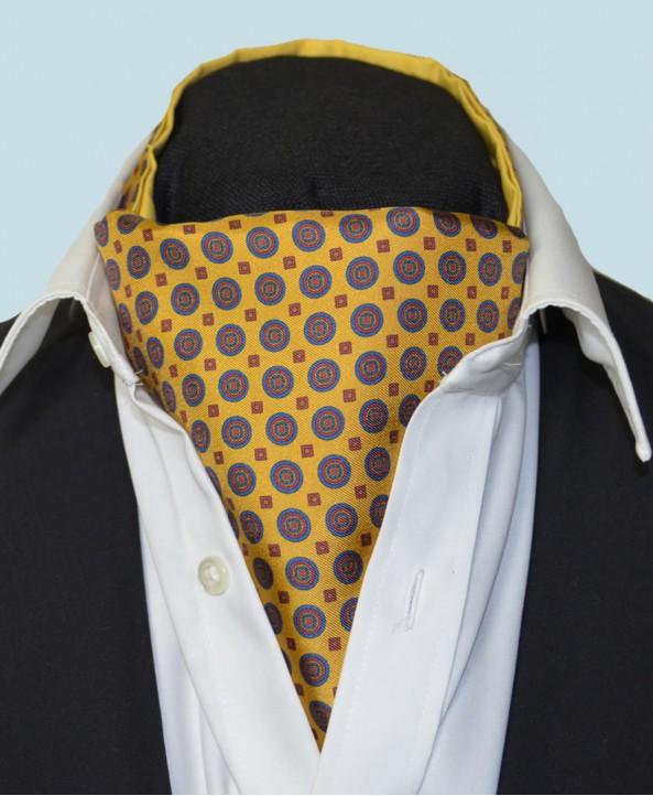 Fine Silk Bullseye Medal Pattern Cravat in Dark Yellow