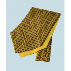 Fine Silk Bullseye Medal Pattern Cravat in Dark Yellow