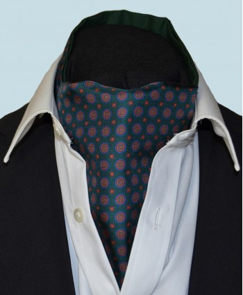 Fine Silk Bullseye Medal Pattern Cravat in Green