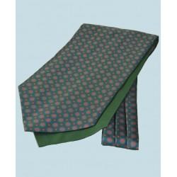 Fine Silk Bullseye Medal Pattern Cravat in Green