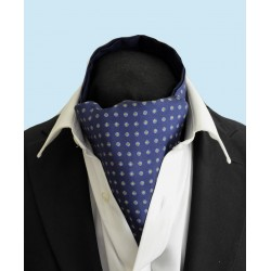 Fine Silk Blue Rosette Neat Pattern Cravat in Navy