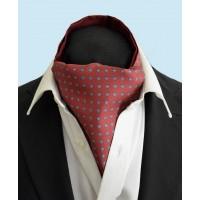 Fine Silk Blue Rosette Neat Pattern Cravat in Red