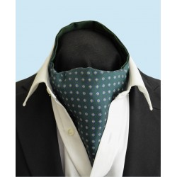 Fine Silk Blue Rosette Neat Pattern Cravat in Green