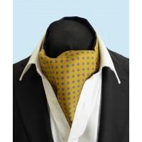 Fine Silk Blue Rosette Neat Pattern Cravat in Gold