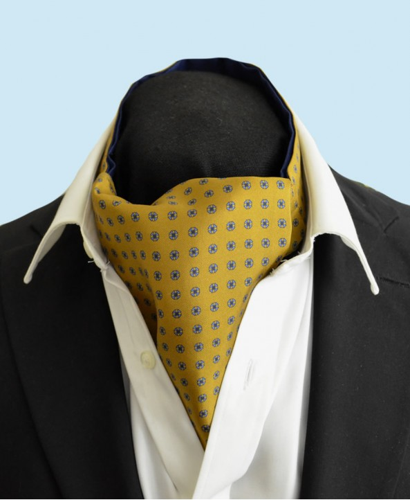 Fine Silk Blue Rosette Neat Pattern Cravat in Gold