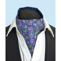 Fine Silk Blooming Happy Pattern Cravat in Purple and Navy