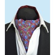 Fine Silk Blooming Happy Pattern Cravat in Blue and Red