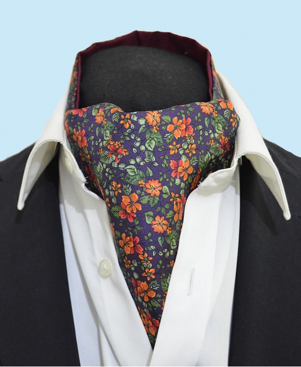 Fine Silk Blooming Happy Pattern Cravat in Orange and Aubergine