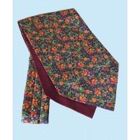 Fine Silk Blooming Happy Pattern Cravat in Orange and Aubergine