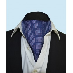 Fine Silk Dice Dot Neat Pattern Cravat in Navy