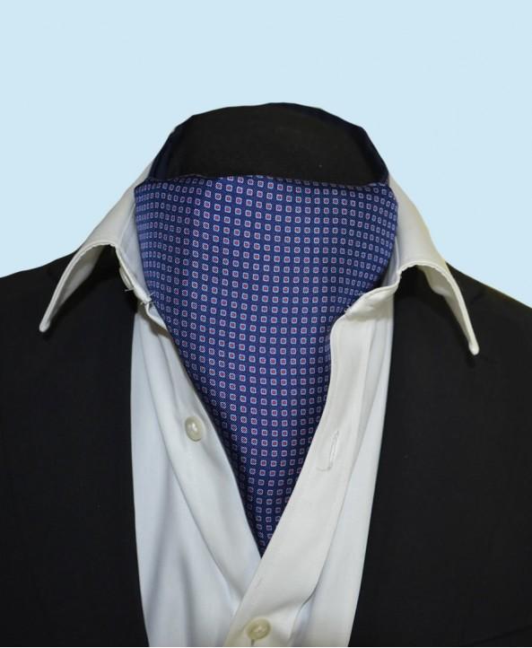Fine Silk Dice Dot Neat Pattern Cravat in Navy
