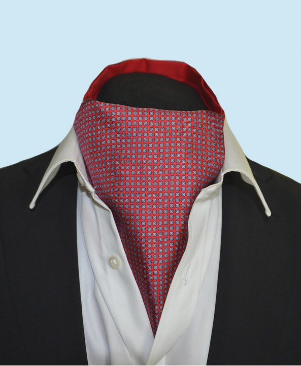 Fine Silk Dice Dot Neat Pattern Cravat in Red