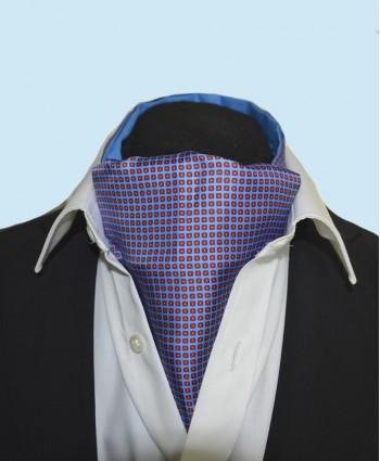 Fine Silk Dice Dot Neat Pattern Cravat in Light Blue