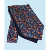 Fine Silk Blooming Happy Pattern Cravat in Red, Yellow and Navy