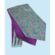 Fine Silk Blooming Happy Pattern Cravat in Mauve and Light Green