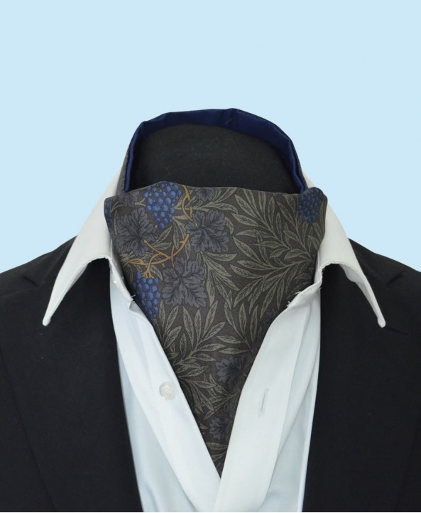 Silk Cravat with Blue Grapes and Vines on a Green Background