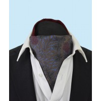 Silk Cravat with Burgundy Grapes and Vines on a Sea Blue Background