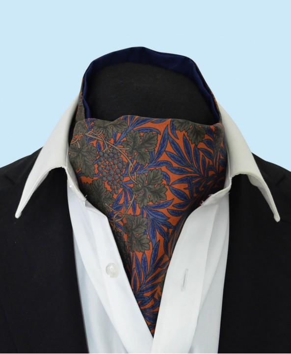 Silk Cravat with Green Grapes and Vines on an Orange Background