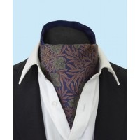 Silk Cravat with Green Grapes and Vines on a Navy Background