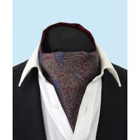 Silk Cravat with Purple Grapes and Vines on a Burgundy Background