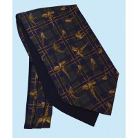 Silk Cravat with Tartan Design in Green and Gold on a Navy Background