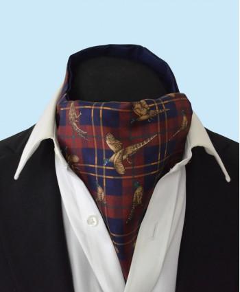 Silk Cravat with Tartan Design in Navy and Gold on a Burgundy Background
