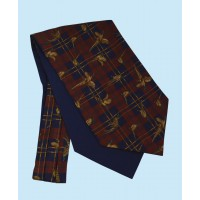 Silk Cravat with Tartan Design in Navy and Gold on a Burgundy Background
