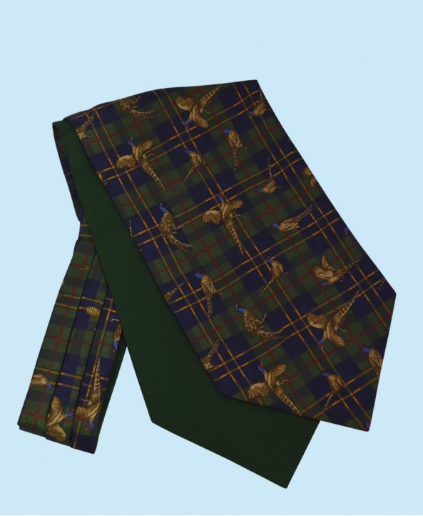 Silk Cravat with Tartan Design in Navy and Gold on a Green Background