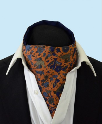 Silk Cravat with a Whimsical Secret Garden Design in Light Blue, Green and Navy on a Copper Background
