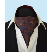 Silk Cravat with Whimsical Secret Garden Design in Sea Blue, Copper and Navy on a Burgundy Background